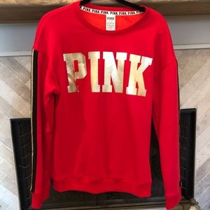 VS Pink - Red Sweatshirt with Gold Accents